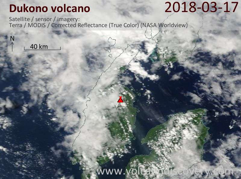 Satellite image of Dukono volcano on 17 Mar 2018