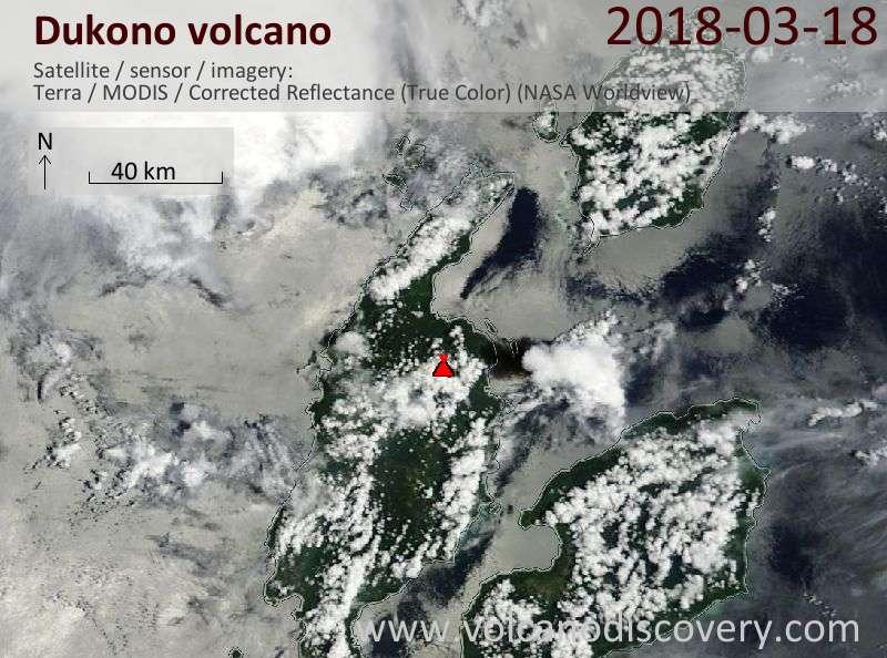 Satellite image of Dukono volcano on 18 Mar 2018