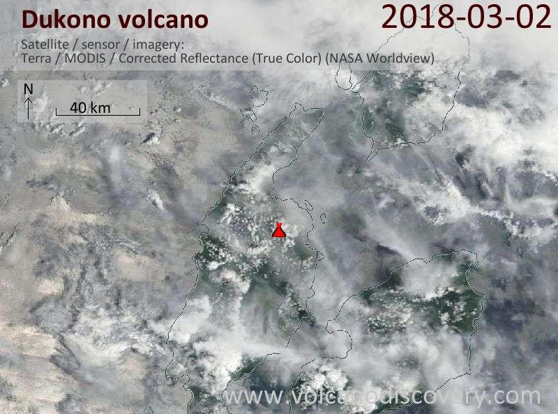 Satellite image of Dukono volcano on  2 Mar 2018