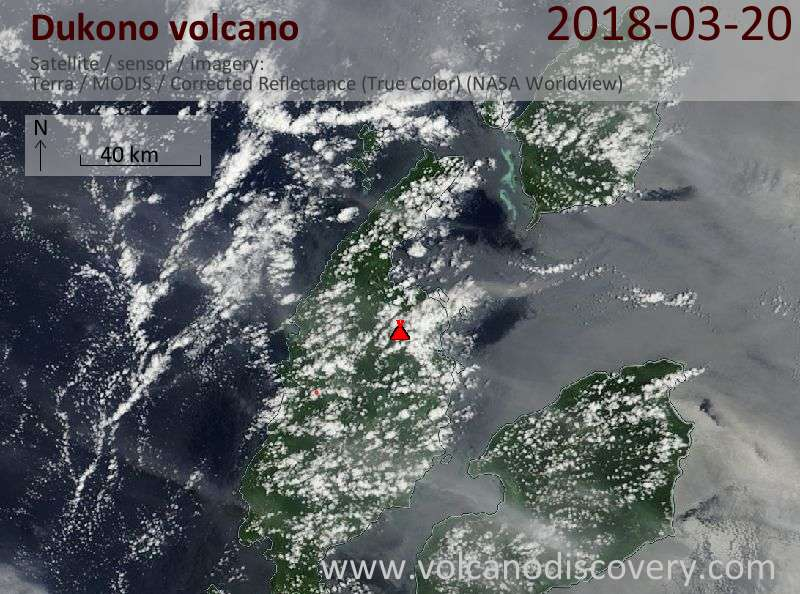 Satellite image of Dukono volcano on 20 Mar 2018