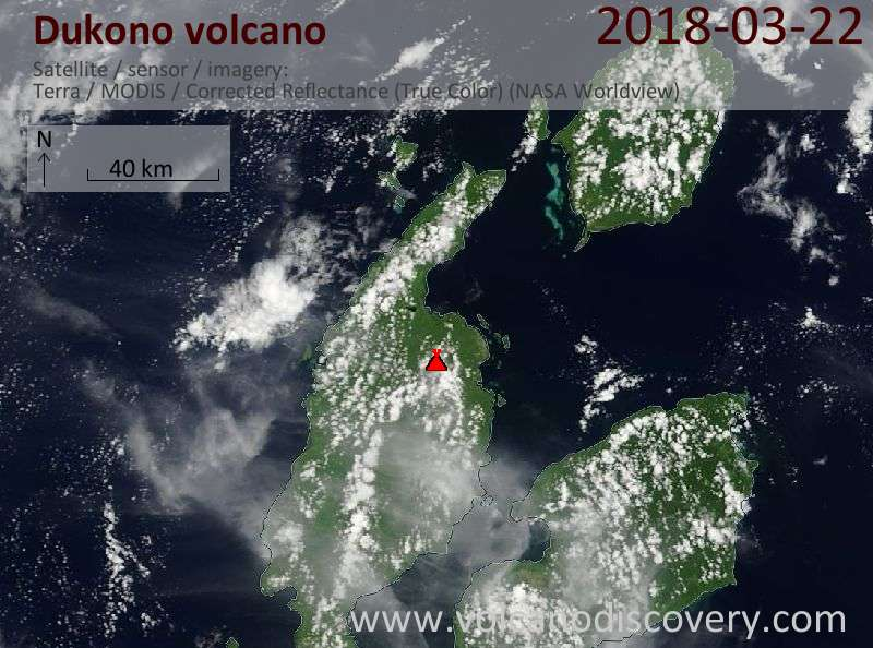 Satellite image of Dukono volcano on 22 Mar 2018