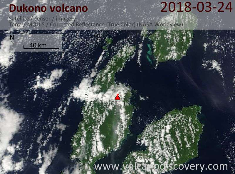 Satellite image of Dukono volcano on 24 Mar 2018
