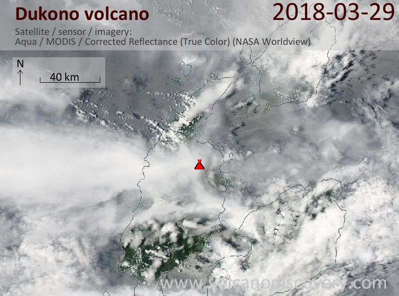 Satellite image of Dukono volcano on 29 Mar 2018
