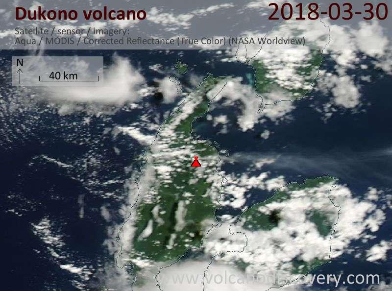 Satellite image of Dukono volcano on 30 Mar 2018