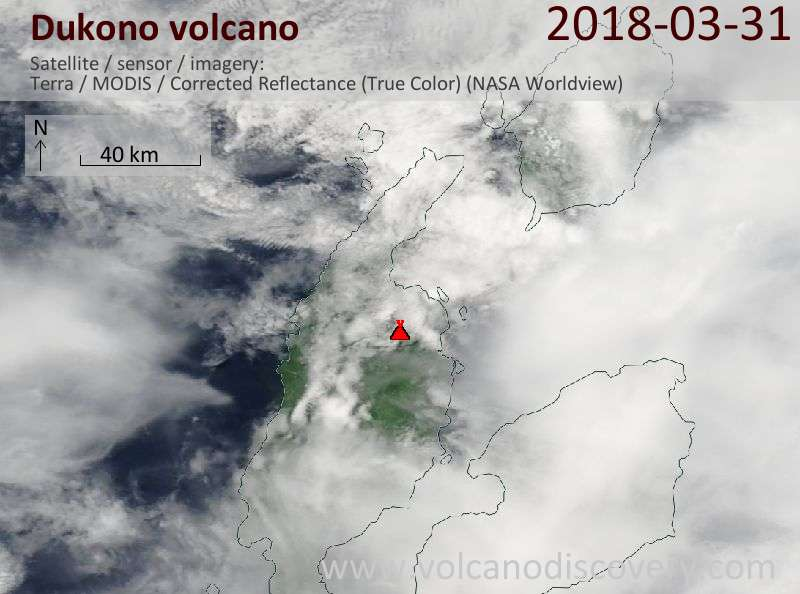 Satellite image of Dukono volcano on 31 Mar 2018
