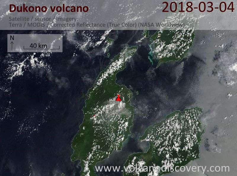 Satellite image of Dukono volcano on  4 Mar 2018