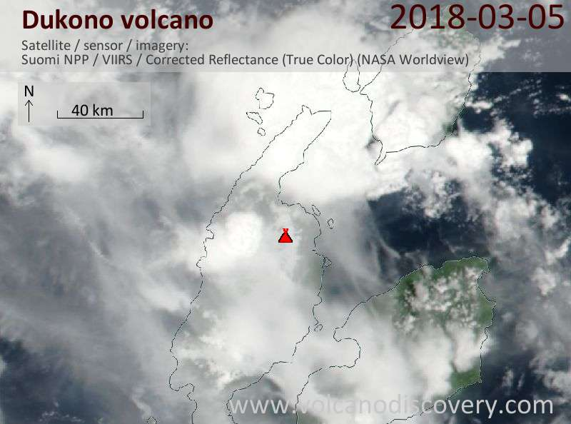 Satellite image of Dukono volcano on  5 Mar 2018