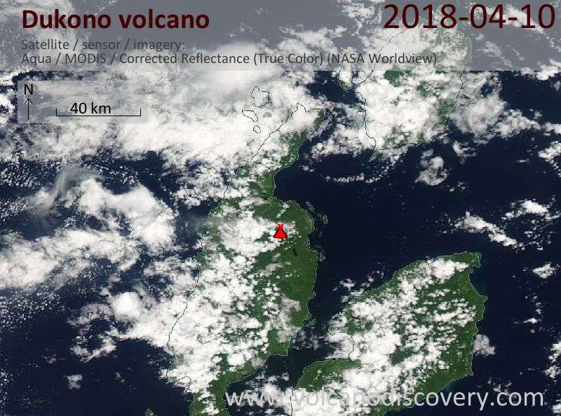 Satellite image of Dukono volcano on 10 Apr 2018