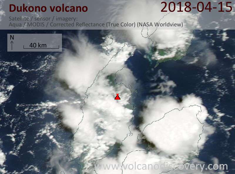 Satellite image of Dukono volcano on 15 Apr 2018