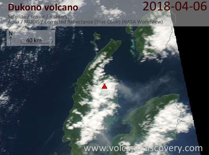 Satellite image of Dukono volcano on  6 Apr 2018
