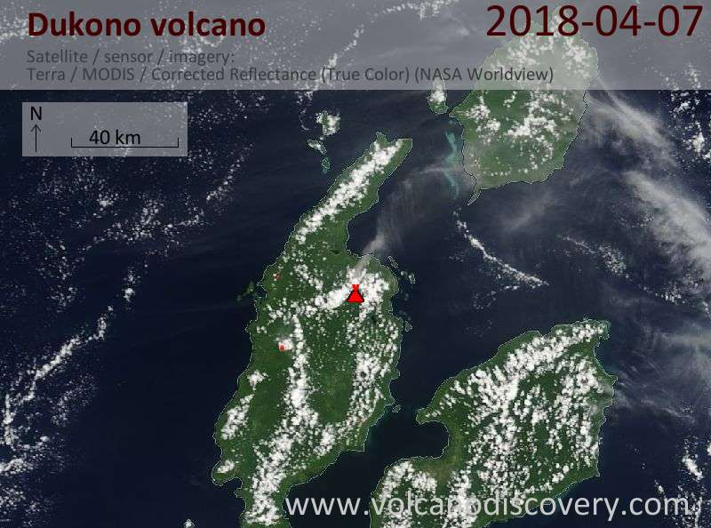 Satellite image of Dukono volcano on  7 Apr 2018