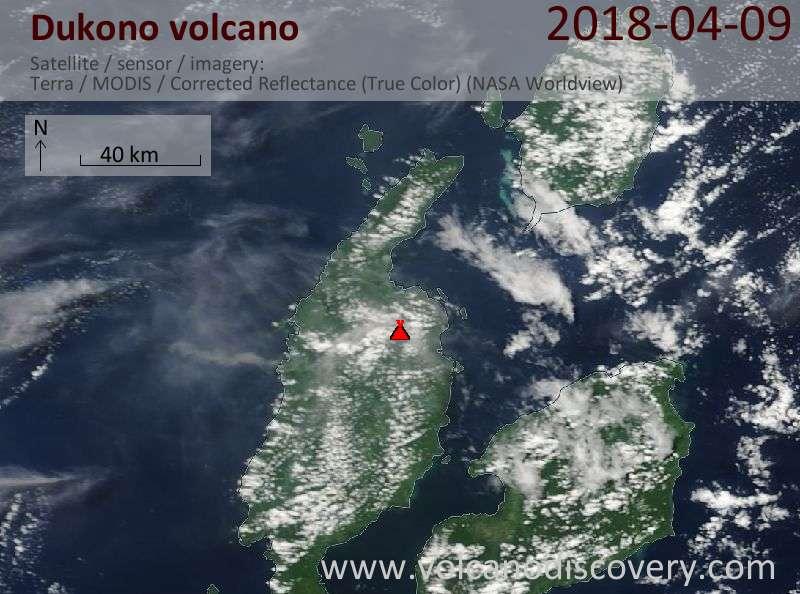 Satellite image of Dukono volcano on  9 Apr 2018