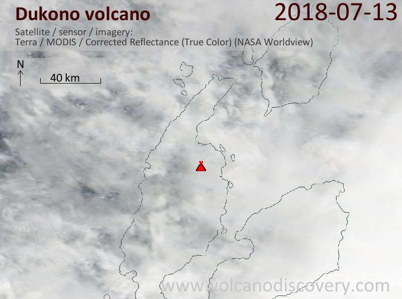 Satellite image of Dukono volcano on 13 Jul 2018