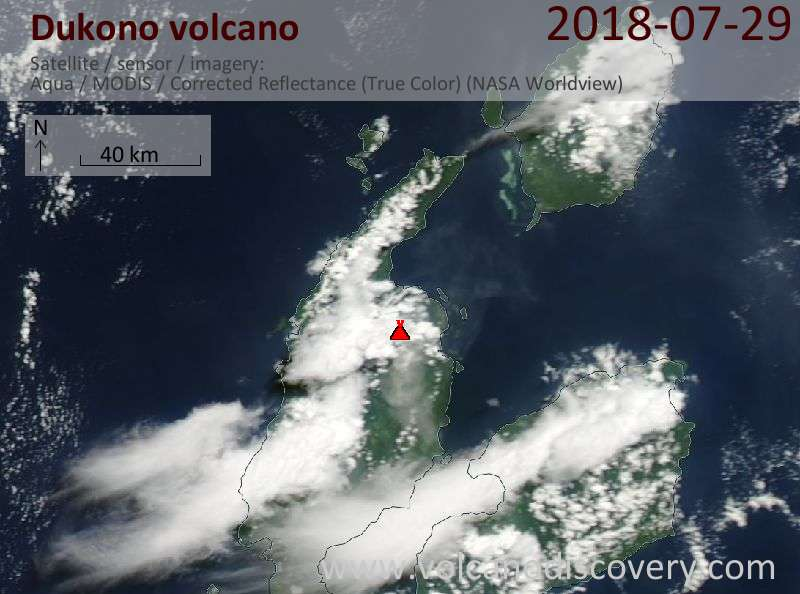Satellite image of Dukono volcano on 28 Jul 2018