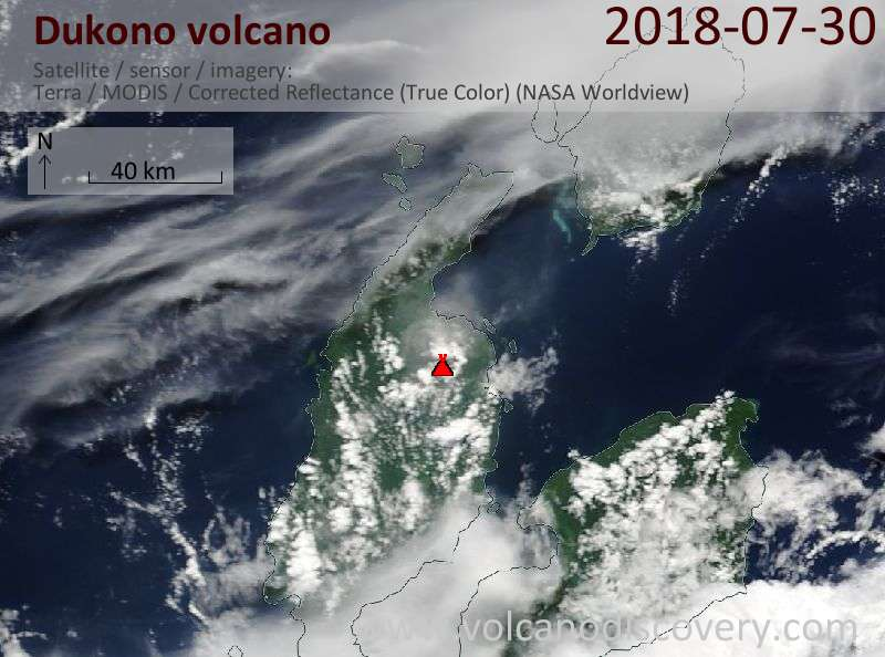 Satellite image of Dukono volcano on 30 Jul 2018