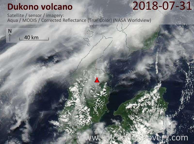 Satellite image of Dukono volcano on 31 Jul 2018