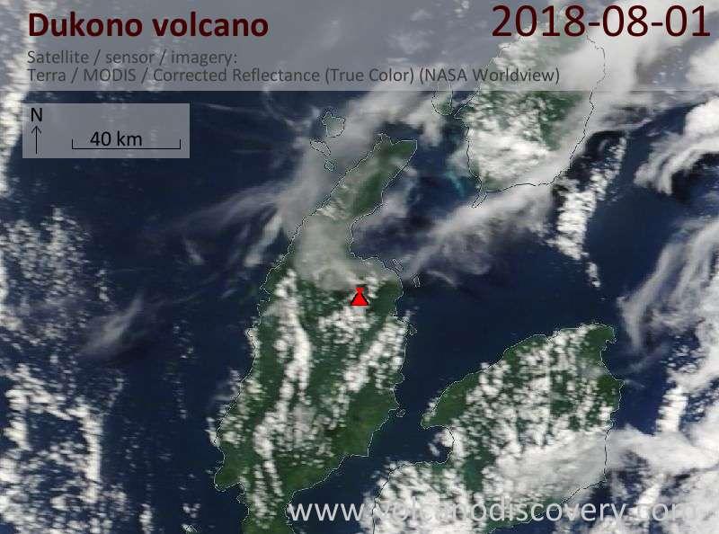 Satellite image of Dukono volcano on  1 Aug 2018