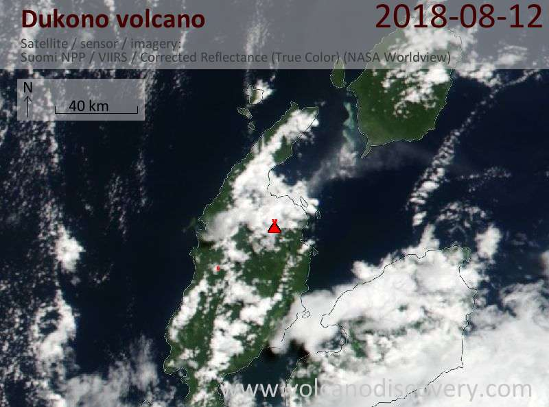 Satellite image of Dukono volcano on 12 Aug 2018