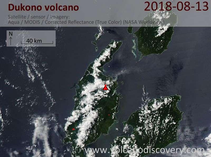 Satellite image of Dukono volcano on 13 Aug 2018