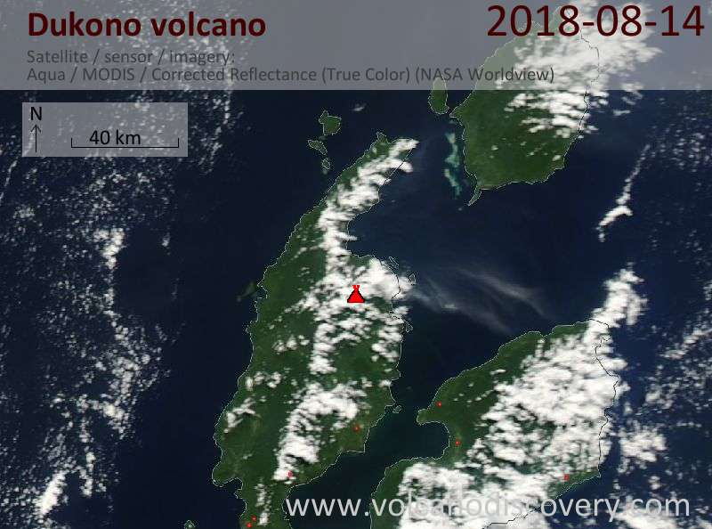 Satellite image of Dukono volcano on 14 Aug 2018