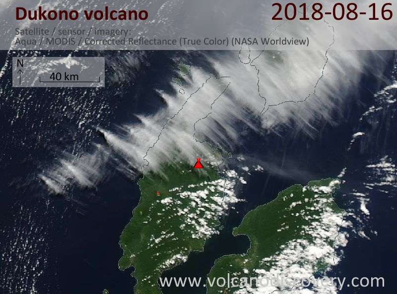 Satellite image of Dukono volcano on 16 Aug 2018