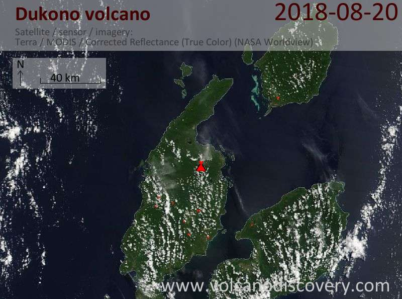 Satellite image of Dukono volcano on 20 Aug 2018