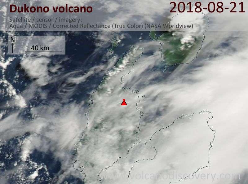 Satellite image of Dukono volcano on 22 Aug 2018