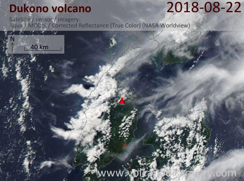 Satellite image of Dukono volcano on 23 Aug 2018