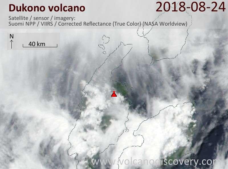 Satellite image of Dukono volcano on 24 Aug 2018