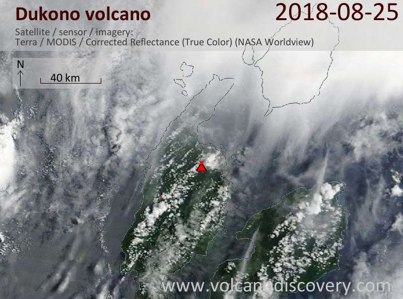 Satellite image of Dukono volcano on 25 Aug 2018
