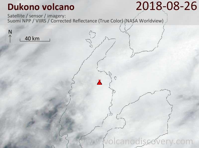Satellite image of Dukono volcano on 26 Aug 2018