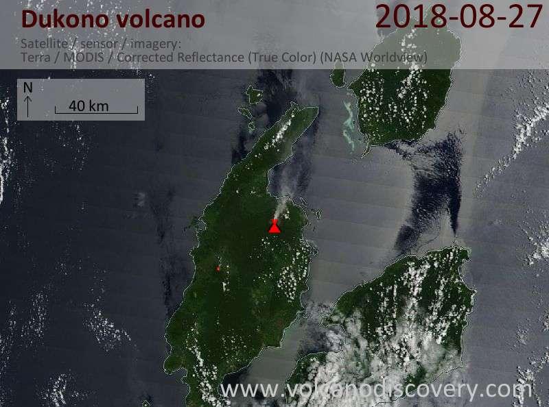 Satellite image of Dukono volcano on 27 Aug 2018