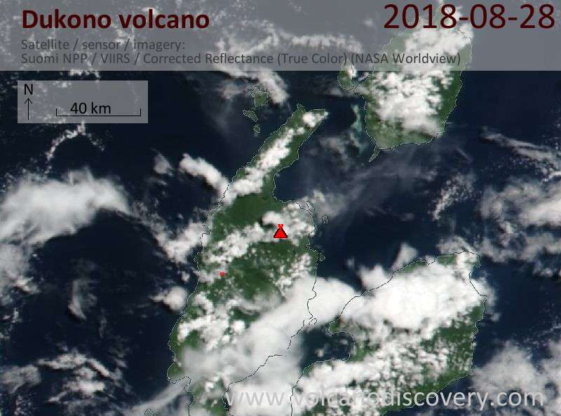 Satellite image of Dukono volcano on 28 Aug 2018