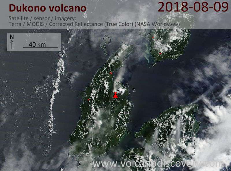 Satellite image of Dukono volcano on  9 Aug 2018