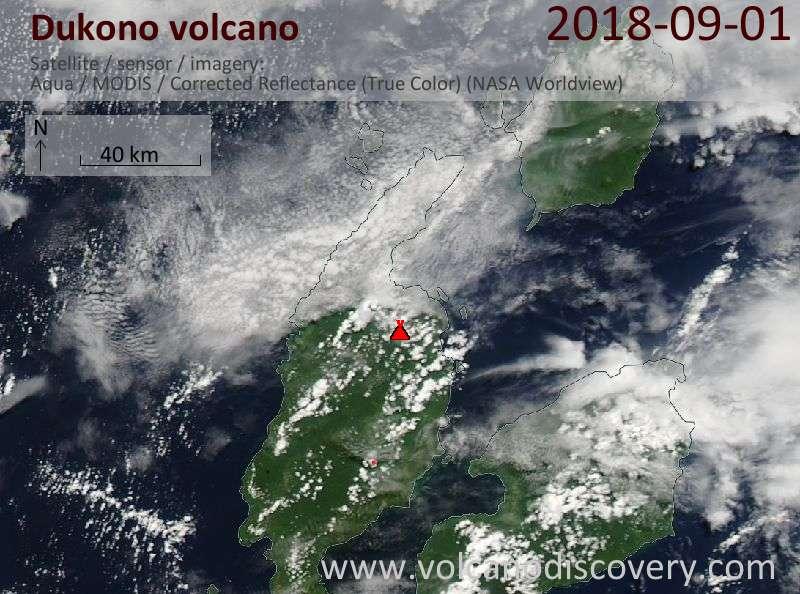 Satellite image of Dukono volcano on  1 Sep 2018