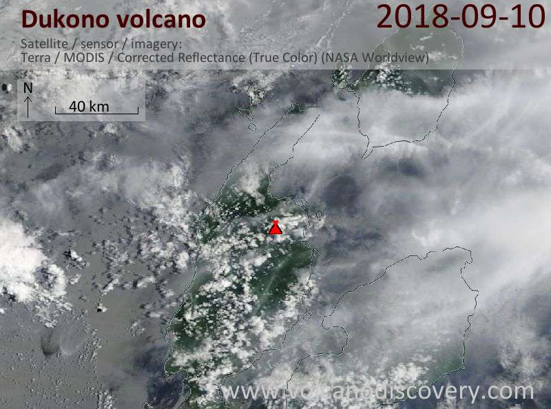 Satellite image of Dukono volcano on 10 Sep 2018