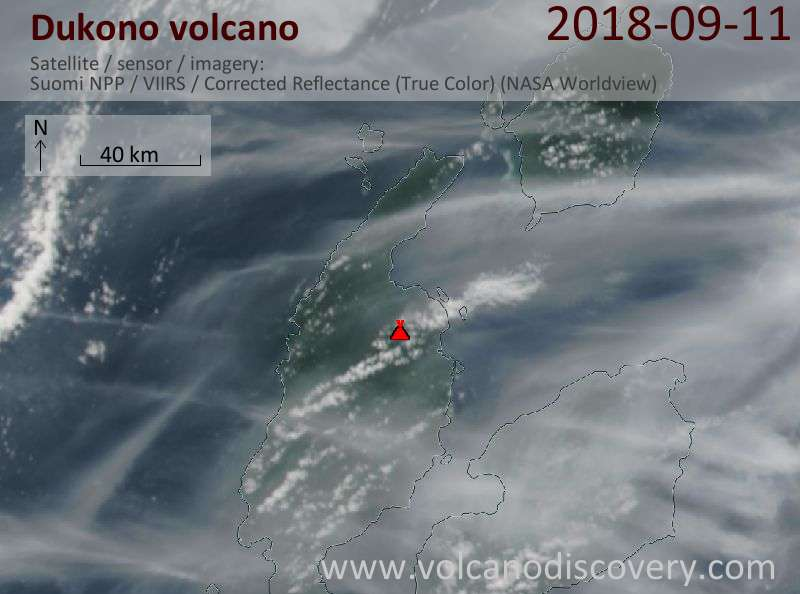 Satellite image of Dukono volcano on 11 Sep 2018