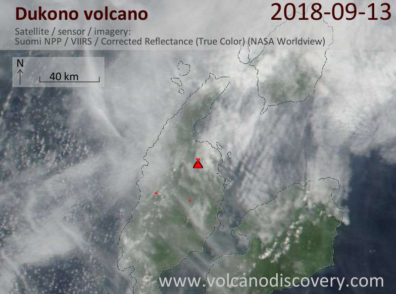 Satellite image of Dukono volcano on 13 Sep 2018