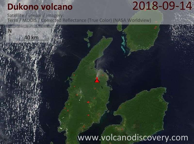 Satellite image of Dukono volcano on 14 Sep 2018