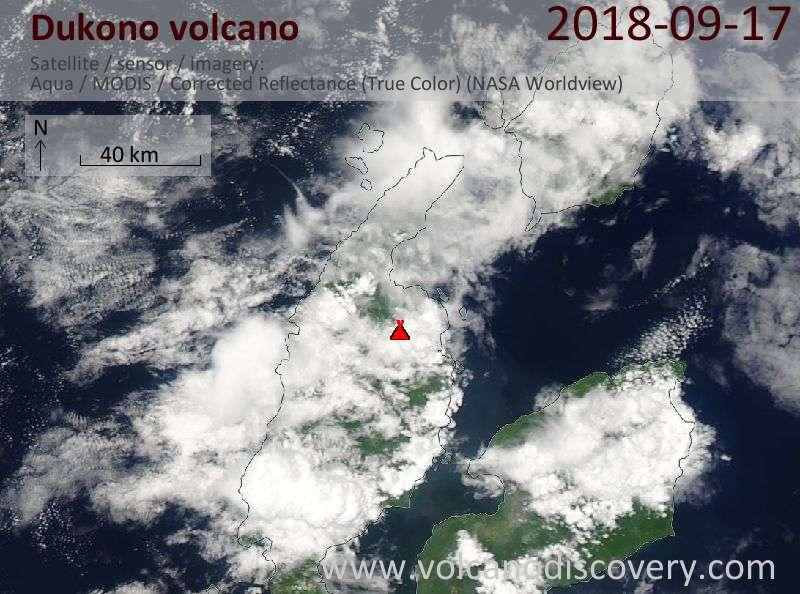 Satellite image of Dukono volcano on 17 Sep 2018