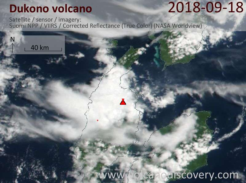 Satellite image of Dukono volcano on 18 Sep 2018