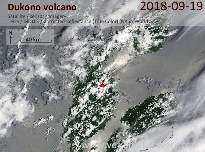 Satellite image of Dukono volcano on 19 Sep 2018