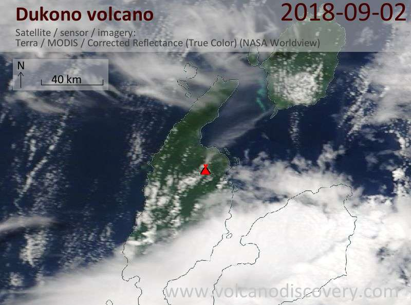 Satellite image of Dukono volcano on  2 Sep 2018
