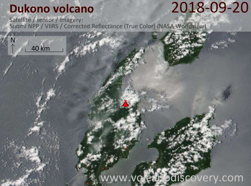 Satellite image of Dukono volcano on 20 Sep 2018
