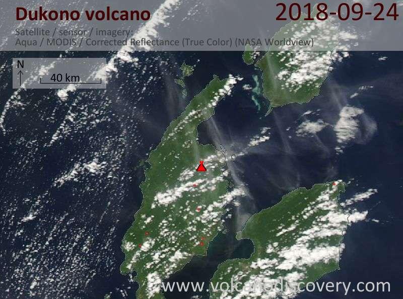 Satellite image of Dukono volcano on 24 Sep 2018