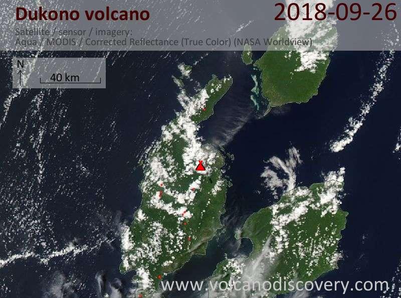 Satellite image of Dukono volcano on 26 Sep 2018