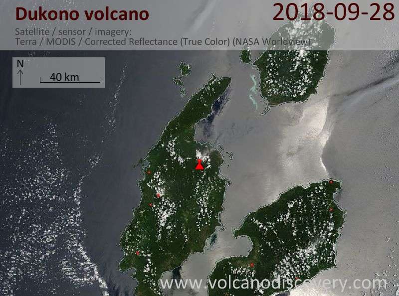 Satellite image of Dukono volcano on 28 Sep 2018