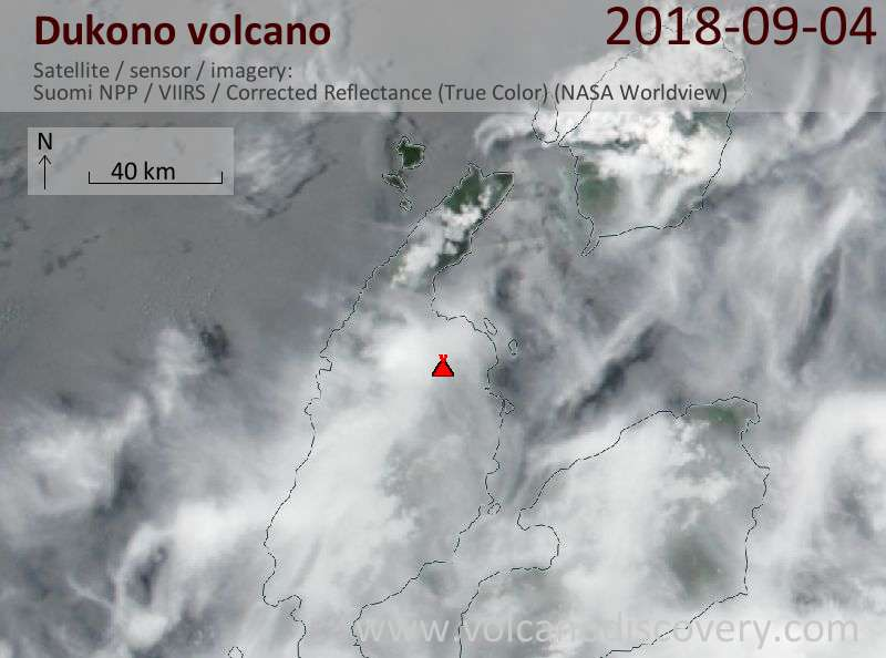 Satellite image of Dukono volcano on  4 Sep 2018