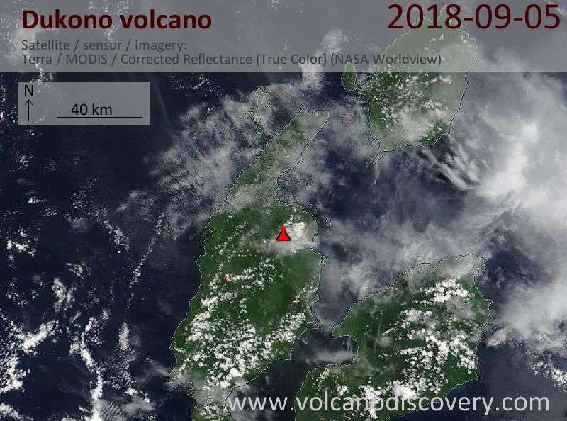 Satellite image of Dukono volcano on  5 Sep 2018