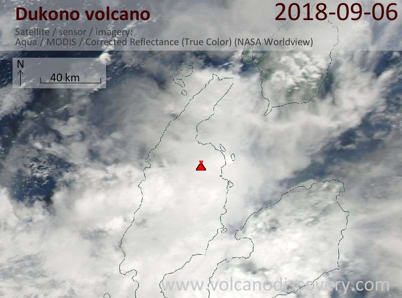 Satellite image of Dukono volcano on  6 Sep 2018
